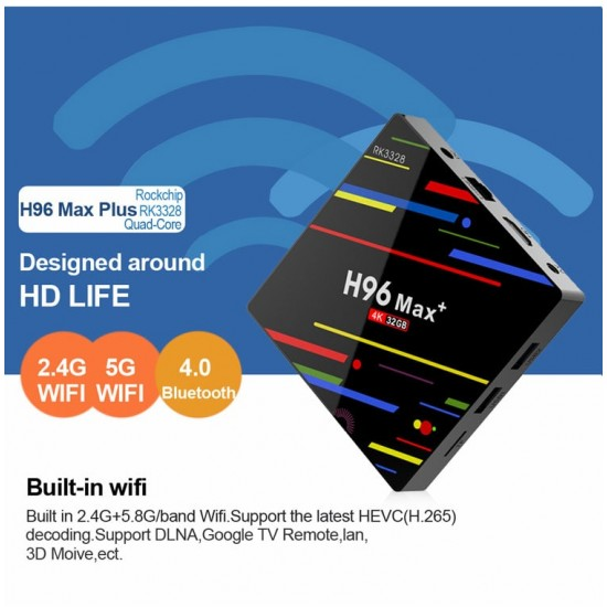 H96 MAX plus Android TV Box - 4GB RAM - 32GB ROM - Set Top Box - H96 pro